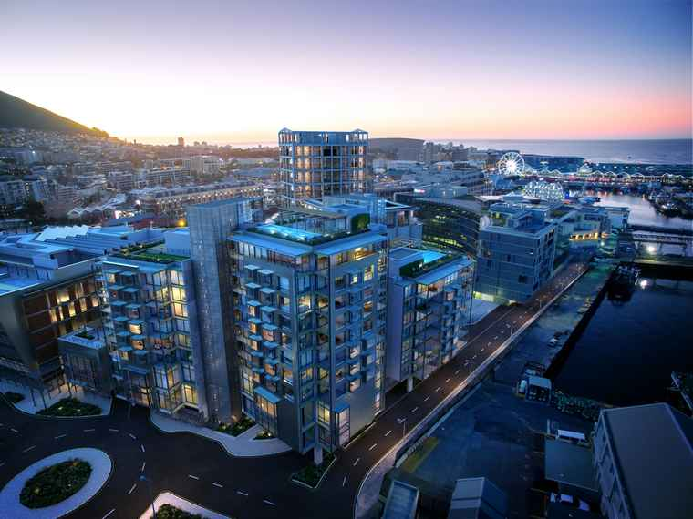 An aerial view of No 2, 3, 4 and 5 Silos at the V&A Waterfront.