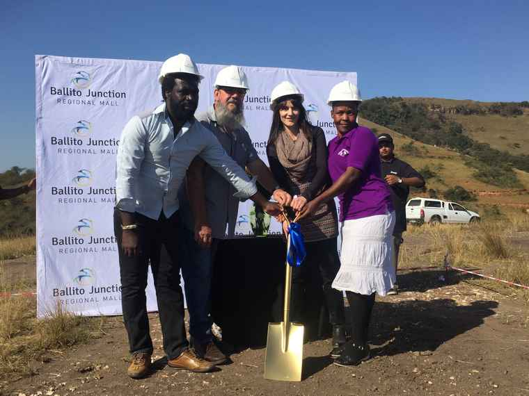 From left to right: Nduna Faya : (Nduna is a tribal office position. He oversees his immediate community and the Faya property), Clive Wetherill: Build the Future : Director and Project Manager, KZN, Geraldine Jorgensen: CEO : Ballito Junction and Thandi Mnqayi, a teacher at the Creche.