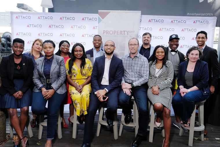 Eight small businesses make up the latest Property Point intake for Attacq. Front, centre left: Shawn Theunissen, Head of Corporate Social Responsibility at Growthpoint Properties and Founder of Property Point,. Front, centre right: Danny Vermeulen, Empowerment Specialist at Attacq.