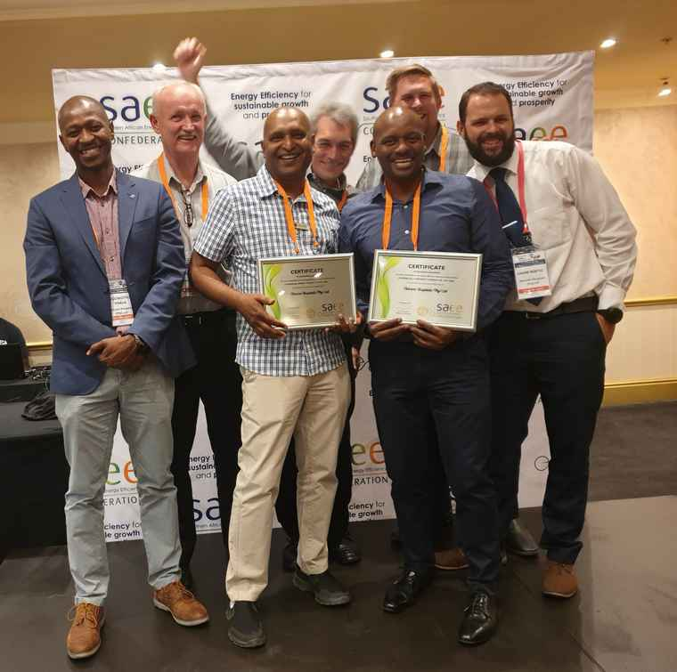 Members of Netcare's environmental sustainability team were elated when Netcare won two South African Energy Efficiency Confederation (SAEEC) awards. From left are: Khomotso Phala, senior reliability engineer; Eddie Herrmann, national technical manager; Magan Reddy; regional technical manager (North East Region); Johan Durand, environmental sustainability manager; Marema Mathenjwa, regional technical manager (South West Region); Jaco Ras, group project engineer; and Andre Nortje, group energy engineer.