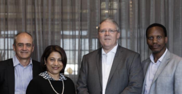 Brian Wilkinson, outgoing CEO; Faieda Jacobs, Non-Executive Deputy Chair; Rudolf Pienaar, incoming Non-Executive Board Chair; and Seana Nkhahle, outgoing Non-Executive Chair.