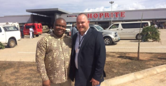 Gerhard van der Westhuizen, project manager of Atterbury Property Development and Tagir Carimo, Mayor of the City of Pemba.