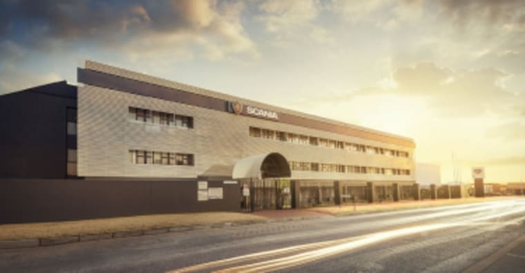 An exterior view of one of the Scania buildings.