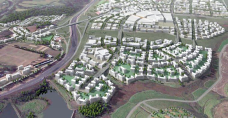 An architectural rendering of the Ntshongweni Urban Development.