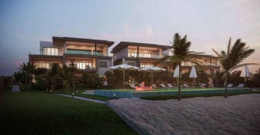 An artist's impression of the exterior of one of the luxury penthouses going on auction.