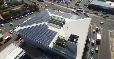 One of Fedgroup's installed solar panels on the roof of Milnerton Mall in Cape Town.