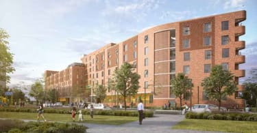 An artist's impression of the majestic block that anchors the development.