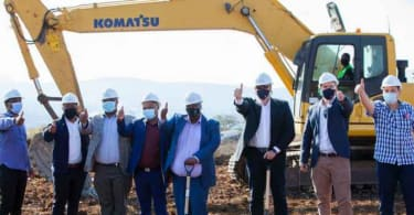 His Worship The Mayor of Msunduzi Municipality and his team, as well as the development team of Hesketh Estate celebrate the official ground breaking.