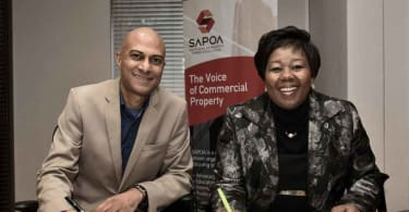 SAPOA CEO, Neil Gopal and PSCC CEO, Portia Tau-Sekati sign the Memorandum of Understanding in Johannesburg.