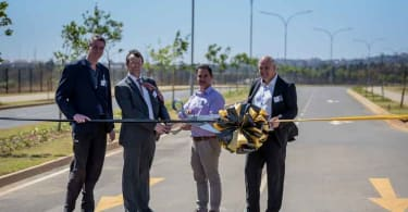 From Left: Pieter Swanepoel, Divisional Head Specialist Projects EMM; Barend Deminey, Regional Executive Manager: Planning: South Roads and Stormwater Department; Jurgens Prinsloo, Managing Director Abland Property Developers and Andrew Konig, CEO of Redefine Properties.
