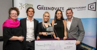 From left to right: Mrs Karen Le Jeune - UCT supervisor, Michael Inskip, Morgan Knowles and Samantha Johnson - Greenovate 2018 Property Award winners and Saul Nurick - UCT supervisor.