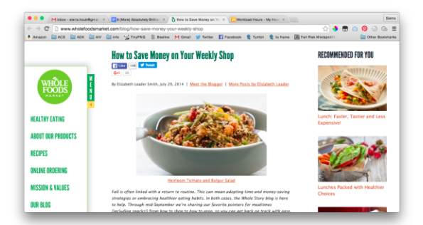 Food tech content marketing example
