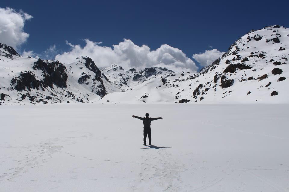 a sinlge trekker in Himalayas
