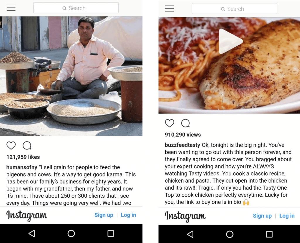 Instagram Content Marketing examples