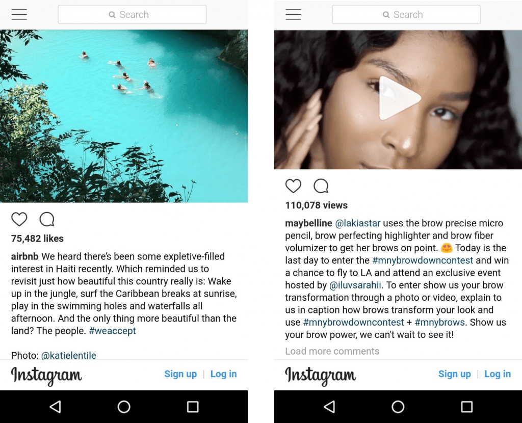 Airbnb_Maybelline_Instagram Content Marketing examples