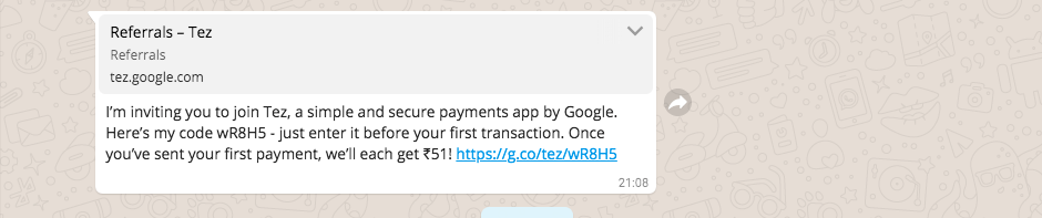 Whatsapp referral