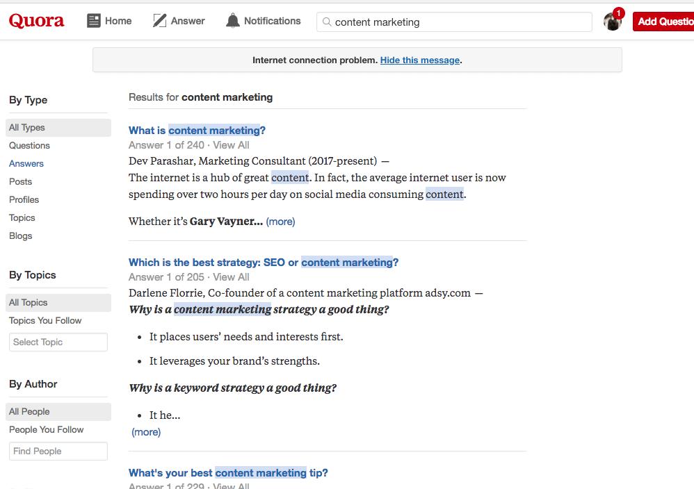 Quora for generating ideas