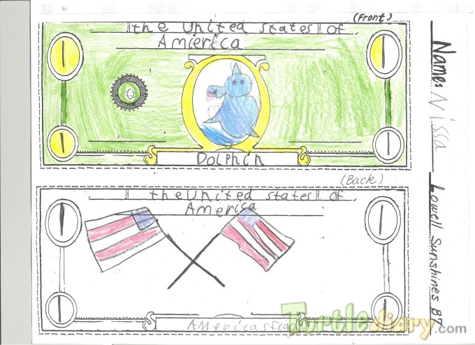 Dolphin 1 dollar bill - Design Your Own Money Contest March 2015 Submission