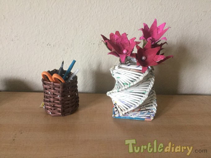 recycled paper flower vase and pencilstand - Earth Day Contest April 2015 Submission