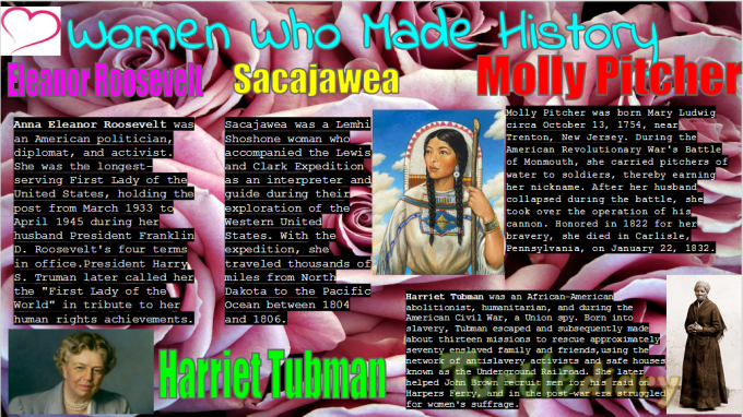 Talks about Eleanor Roosevelt, Sacajawea, Harriet Tubman, and Molly Pitcher - Women Who Made History Contest Submission