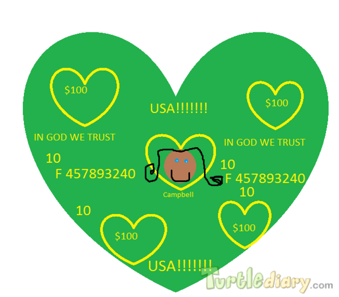 The First Heart Hundred Dollar Bill - Design Your Own Money Contest March 2015 Submission