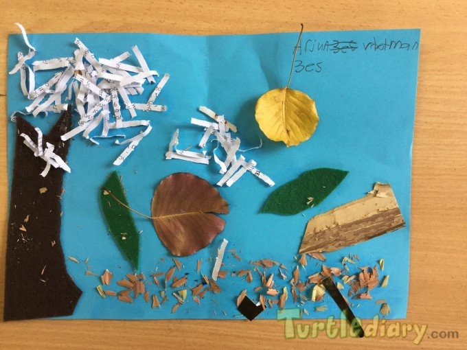 Autumn scene Australia using art room scraps - Earth Day Contest April 2015 Submission