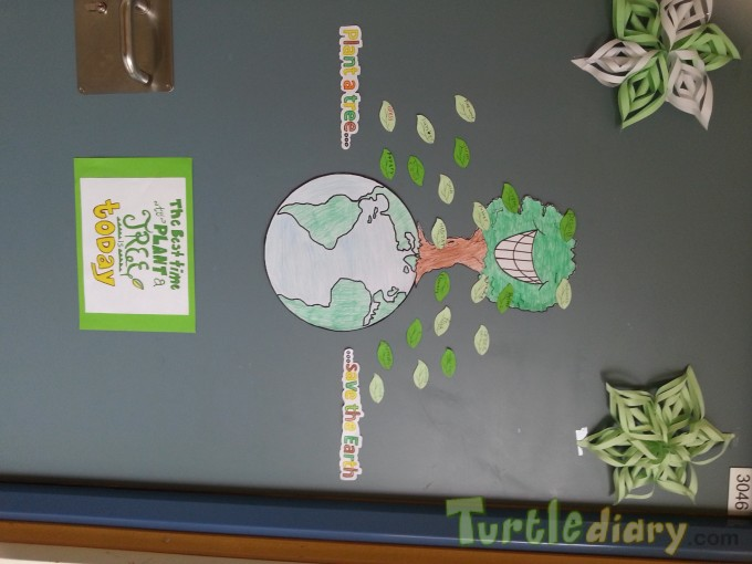 This was our green day at school, when the students decorated the class door and planted some seeds in the school backyard. - Earth Day Contest April 2015 Submission
