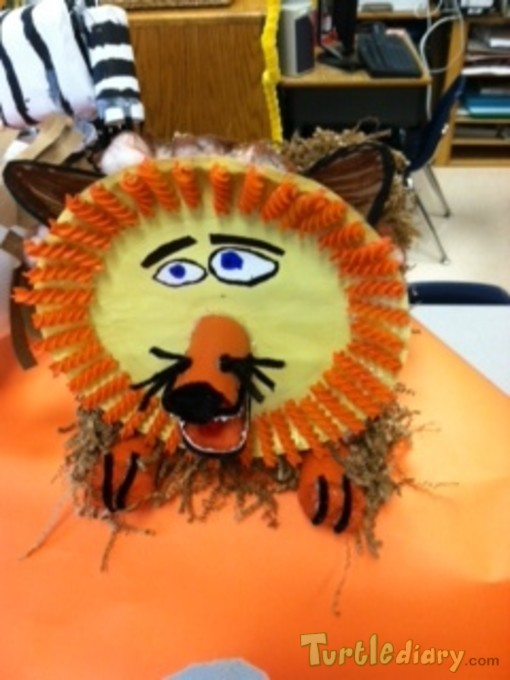 A lion made out of noodles, paper plates, and a shoe box - Earth Day Contest April 2015 Submission