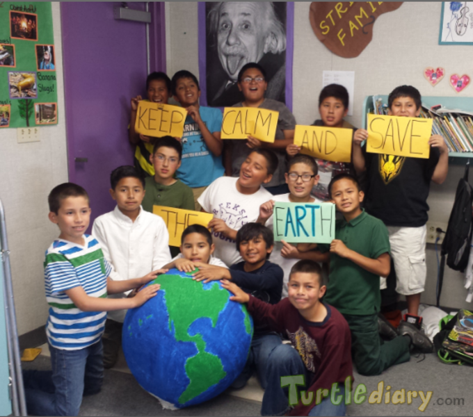 Keep Calm and Save the eARTh - our enormous recycled paper mache Earth.  - Earth Day Contest April 2015 Submission