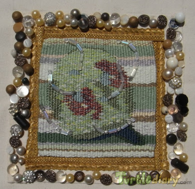 earth made by beads laces glass balls threads and all other things on could find in moms stitching box. - Earth Day Contest April 2015 Submission