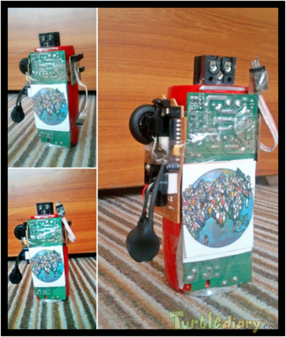 ROBOT MADE OF RECYCLED COLA CAN , BROKEN LAPTOP CHARGER AND BROKEN MOUSE - Earth Day Contest April 2015 Submission