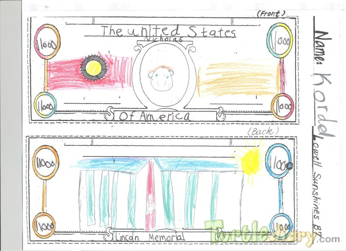 Lincoln Memorial 11,000 dollars  - Design Your Own Money Contest March 2015 Submission