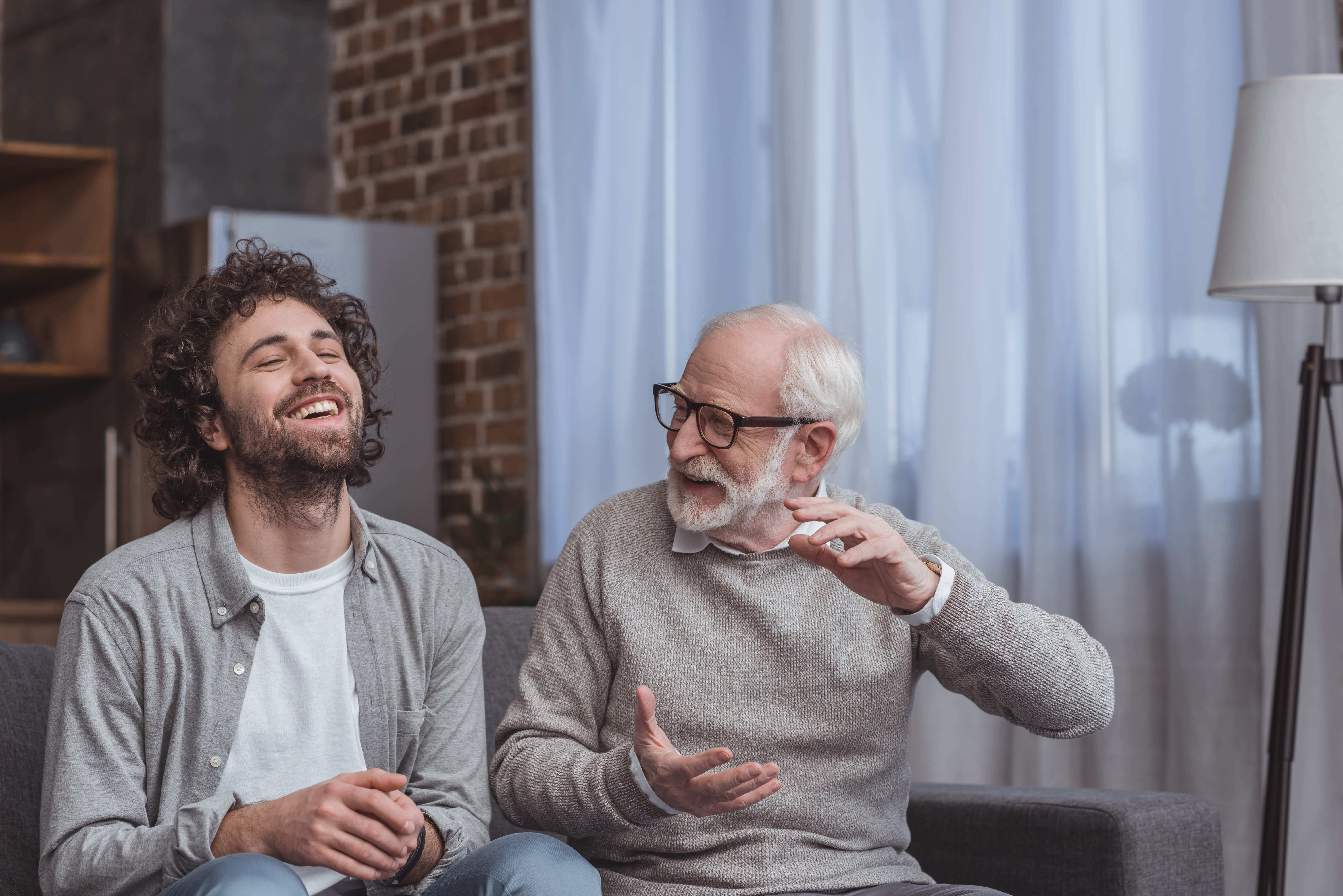 Father having conversation with son