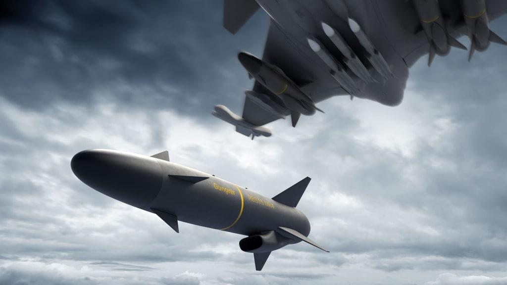 Missile RBS 15 Gungnir, Missile RBS 15 Gungnir, Lancio da un Gripen. Credits: Saab