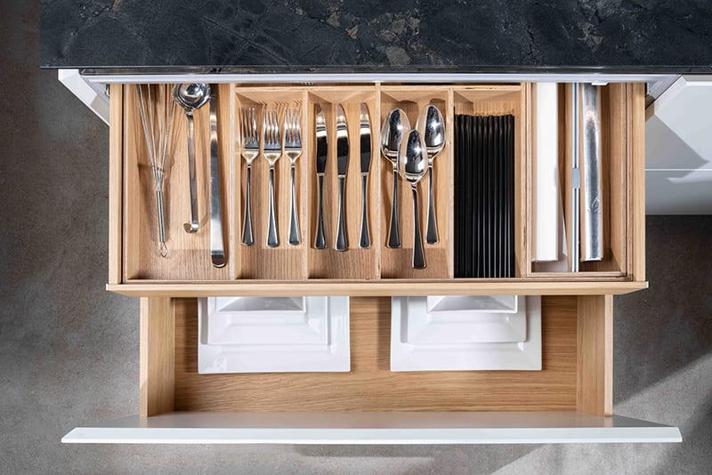 Kitchen drawer & pullout with beautiful wooden drawer liner for organising cutlery