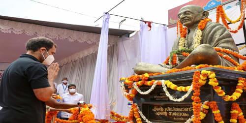 Rahul Gandhi unveils Mahatma Gandhi's statue in Kerala's Wayanad