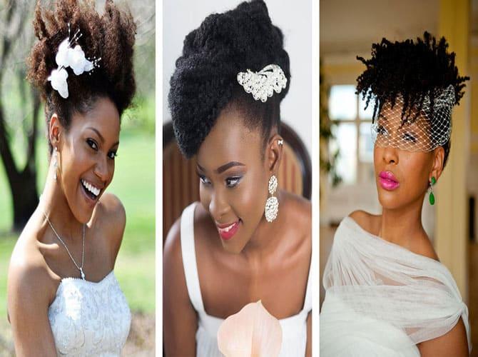 Coiffure de mariée avec coupe afro