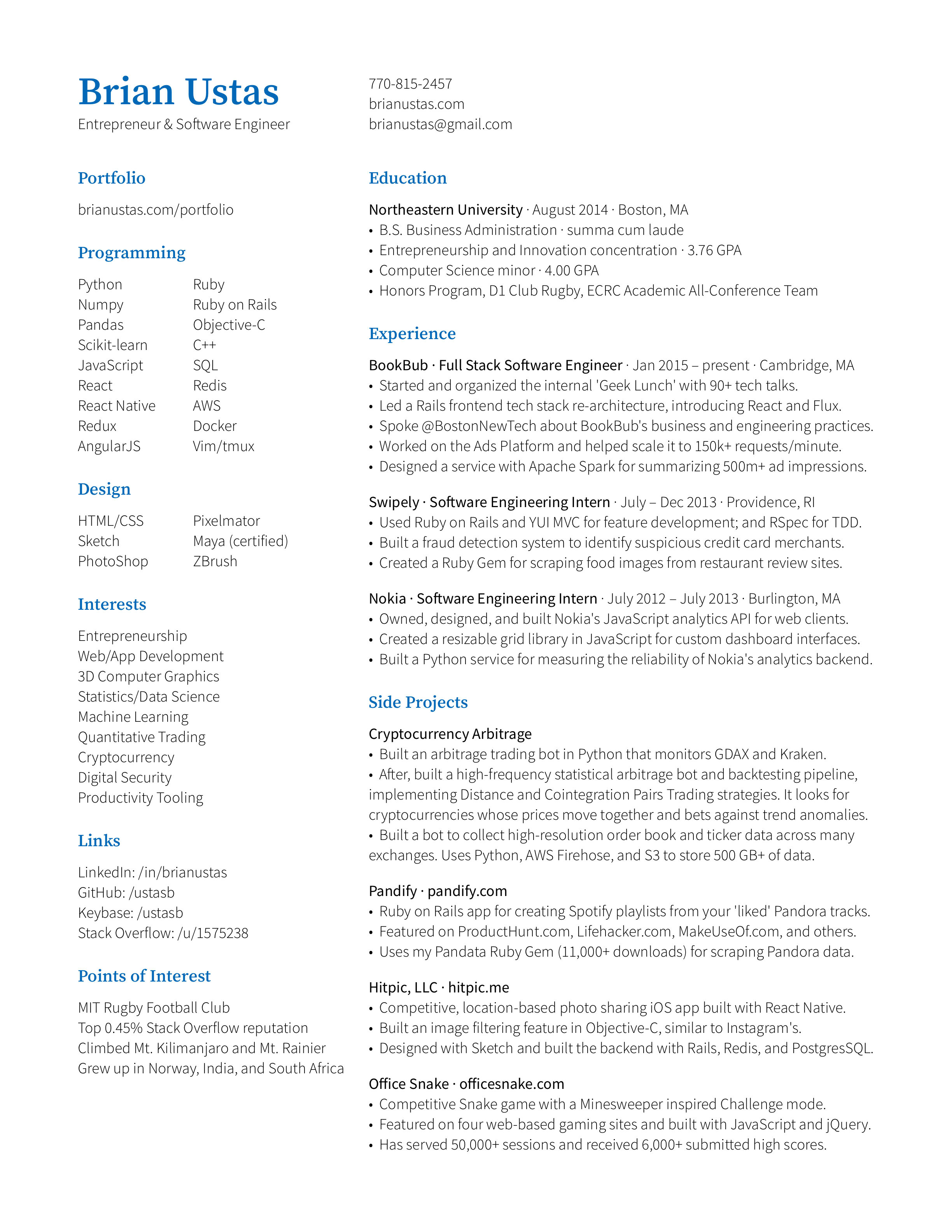 Brian Ustas's resume