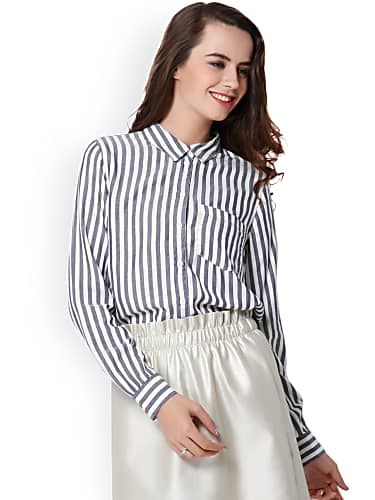 go for only women blue & white regular fit striped casual shirt