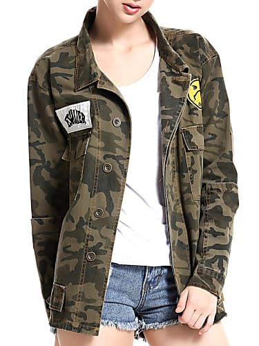 go for women's long sleeve camouflage appliques jacket