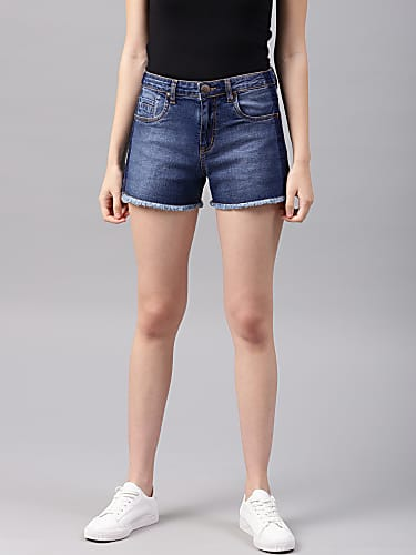 nush women blue washed regular fit denim shorts