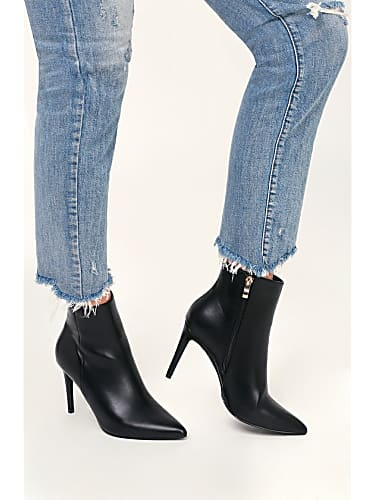 selenah black pointed toe ankle booties