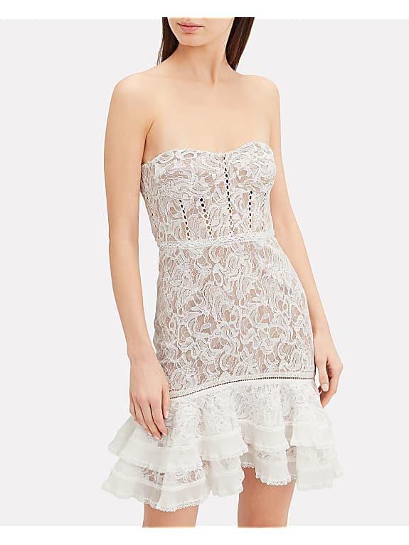 jonathan simkhai multimedia corded lace mini ruffle dress