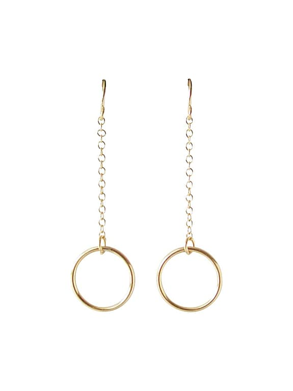 gold dangle circle earrings