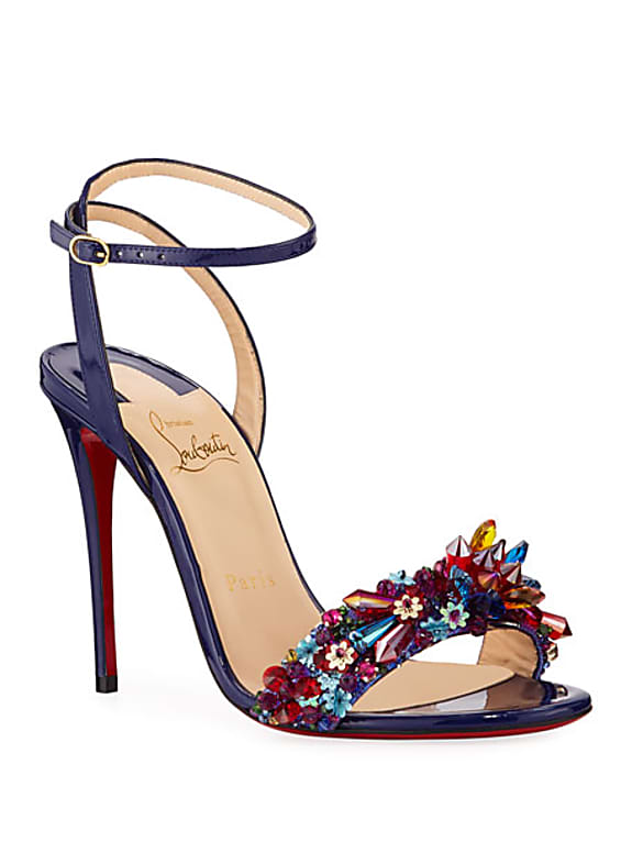christian louboutin multiqueen crystal patent red sole sandals