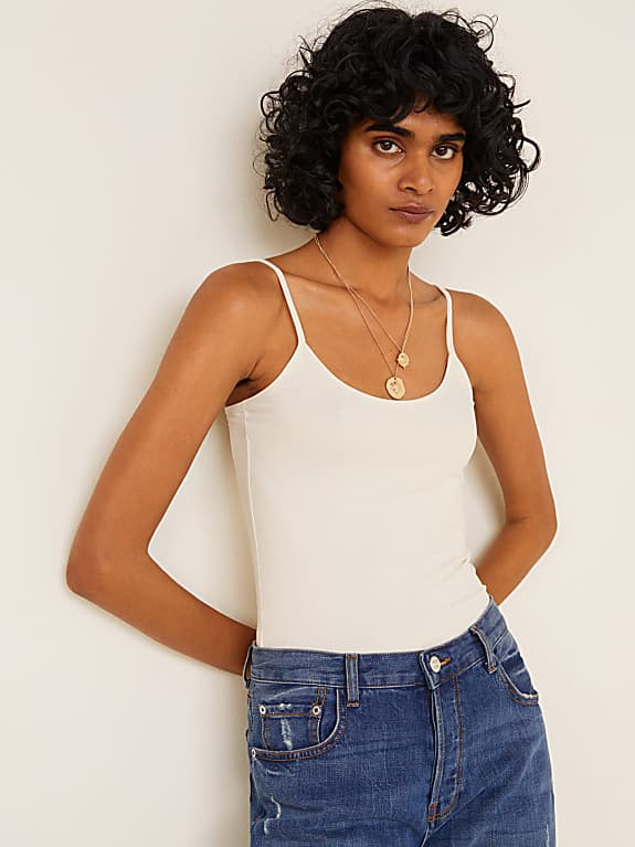 mango women off-white solid top