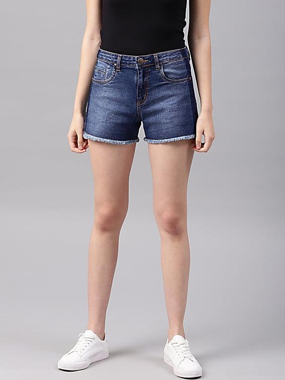 nush women blue washed regular fit denim shorts