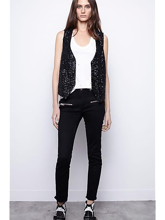 black sequin embellished sleeveless racerback vest