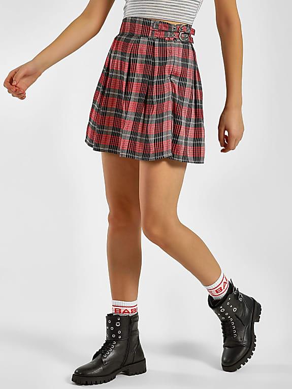 koovs  check pleated mini skirt