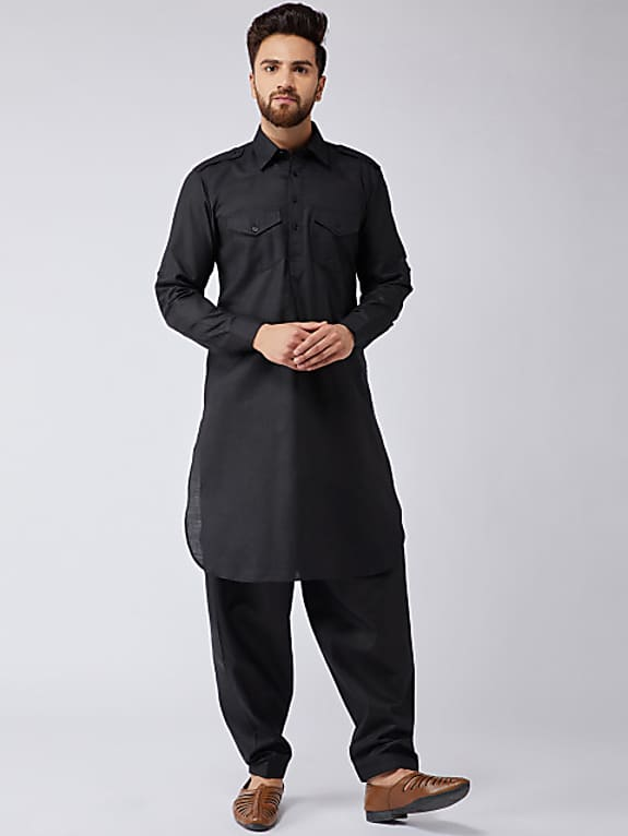sojanya men black solid kurta with salwar